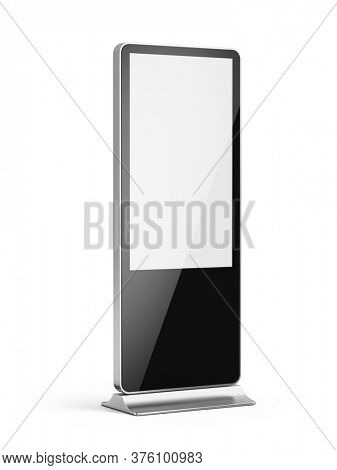 Vertical blank light box LCD screen floor stand isolated on white. Mockup for advertising or information. 3d rendering
