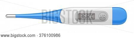 Electronic medical thermometer isolated on white. Top view of digital thermometer - 3d rendering