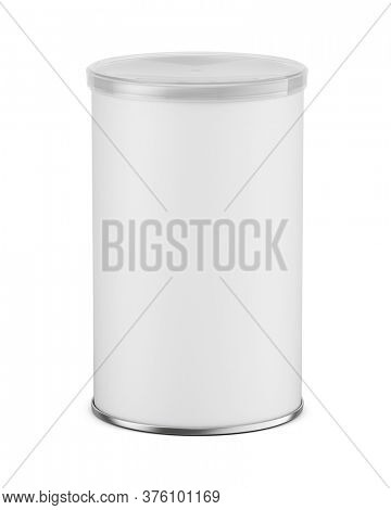 Blank white cardboard cylinder box mockup with plastic lid. Cyllindrical tube container mock up. 3d rendering