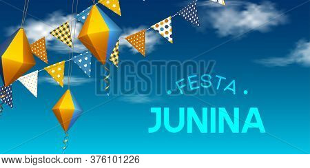 Festa Junina Holiday Banner. Bunting Flags With Paper Lanterns Flying In The Sky With Clouds. Festiv