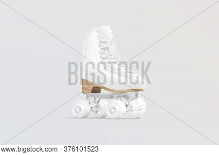 Blank White Roller Skates With Wheels Mockup, Gray Background, 3d Rendering. Empty Rollerskating Sho