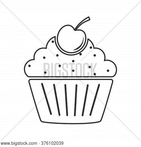 Icon Muffin With Cherries. Simple Vector Illustration For Websites And Apps, An Empty Outline Isolat