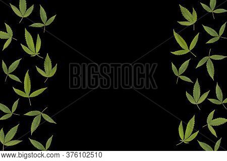 Border From Green Cannabis Leaves Isolated On Black Background. Backdrop With Copy Space