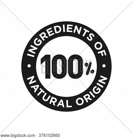 100% Ingredients Of Natural Origin Icon. Round Symbol For Food, Cosmetic And Personal Care Products.