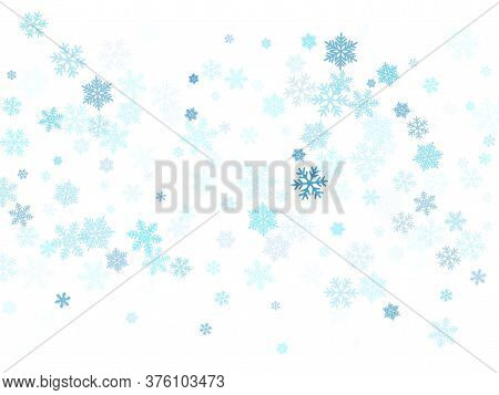 Snow Flakes Falling Macro Vector Design, Christmas Snowflakes Confetti Falling Chaotic Scatter Card.