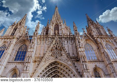 A Beautiful Ornate Steeples And Trim On Barcelona Church