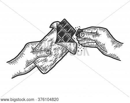Hands Breaking Chocolate Slow Motion. Sketch Scratch Board Imitation.