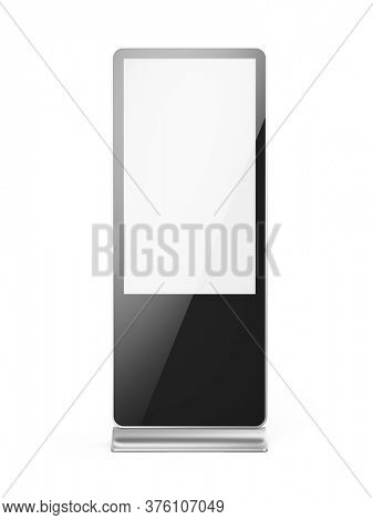 Front view of Vertical blank light box LCD screen floor stand isolated on white. Mockup for advertising or information. 3d rendering