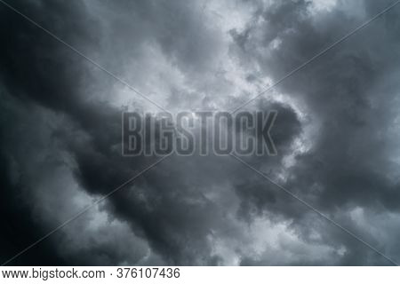 Dark Clouds Moving In The Sky Before Rain. There Are Many Different Types Of Rain Clouds. The Three