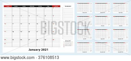 Vector Monthly Desk Pad Calendar, January 2021 - December 2021. Calendar Planner With To-do List And