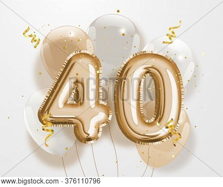 Happy 40th Birthday Gold Foil Balloon Greeting Background. 40 Years Anniversary Logo Template- 40th