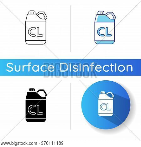 Chlorine Disinfectant Icon. Linear Black And Rgb Color Styles. Chemical Detergent, Disinfection Supp