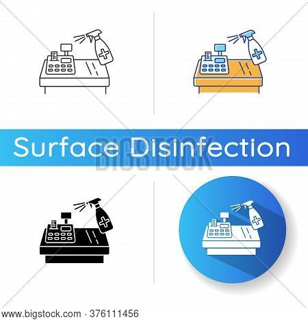 Shop Counter Disinfection Icon. Linear Black And Rgb Color Styles. Public Places Decontamination, Su