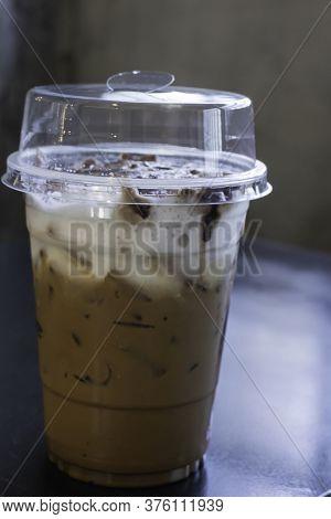 Iced Coffee Mocha In Takeaway Cup, Stock Photo