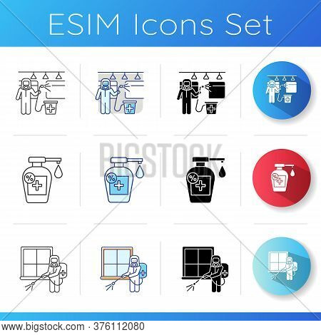 Home Sterilization Icons Set. Linear, Black And Rgb Color Styles. Room Fumigation, Transport Disinfe