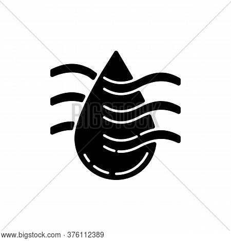 Drying Process Black Glyph Icon. Water Purification Technology, Filtration System Silhouette Symbol