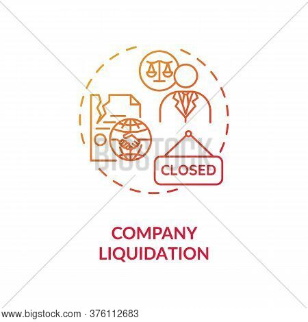 Company Liquidation Concept Icon. Business Loss And Bankruptcy. Firm Insolvency. Corporate Managemen