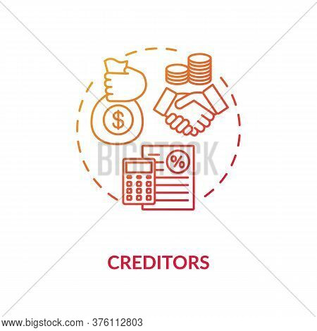 Creditor Concept Icon. Money Loan. Business Investment. Company Liability. Money Loan Idea Thin Line