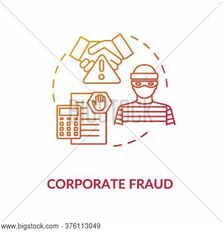 Corporate Fraud Concept Icon. Fraudulent Company. Common Corporate Crime. Corporation Commited Crime