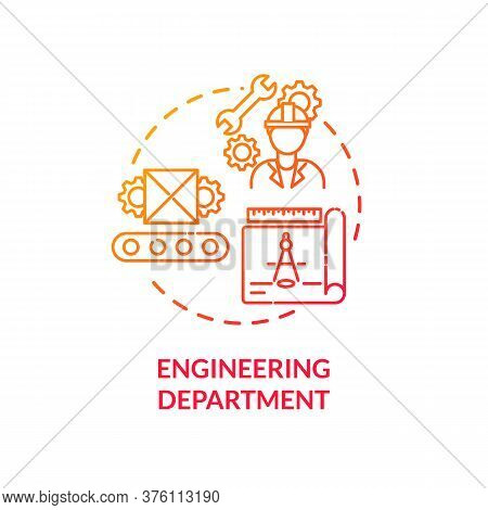 Engineering Department Red Gradient Concept Icon. Technical Production. Professional Service. Produc