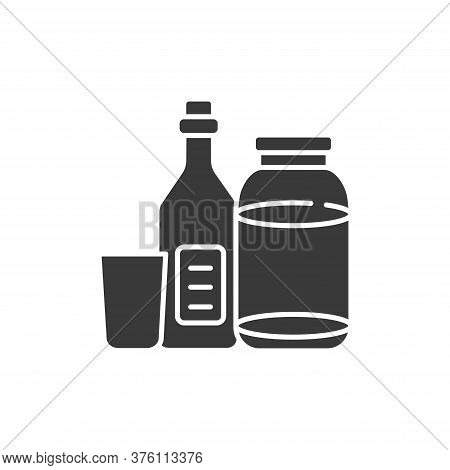 Recyclable Glass Tools Glyph Black Icon. Kitchenware Pictograms: Bottle And Jar, Cup. Waste Recyclin