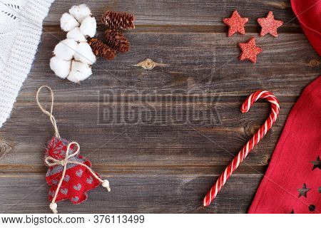New Year Flat Lay: Christmas Linen Tree With Hearts, Candy Cane, White Natural Cotton Flowers, Cones