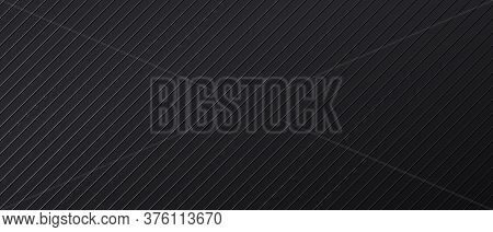 Black Abstract Backdrop With Diagonal Parallel Lines. Dark Banner Design Template With Metal Linear
