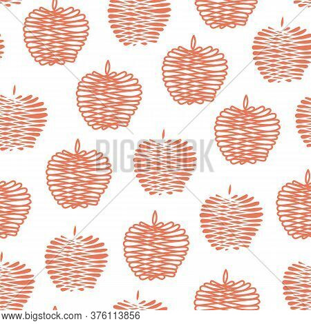 Vector Fruit Red Apples On White Background Seamless Repeat Pattern. Background For Textiles, Cards,
