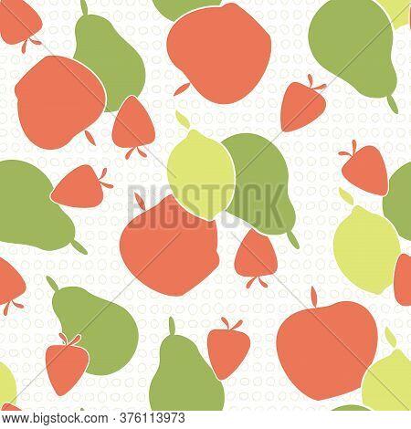 Vector Fruit Pears Strawberries Apples Lemons On White Background Seamless Repeat Pattern. Backgroun