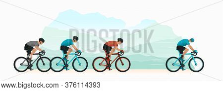 Cycling In Nature. Cyclists Chase The Leader Of The Race. The Head Of The Peloton. The Cyclist Looks