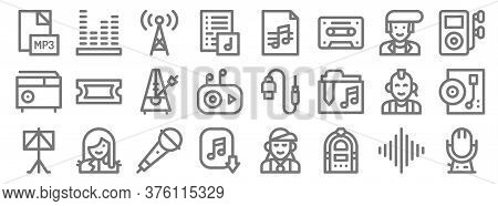 Music Line Icons. Linear Set. Quality Vector Line Set Such As Microphone, Jukebox, Music Download, M