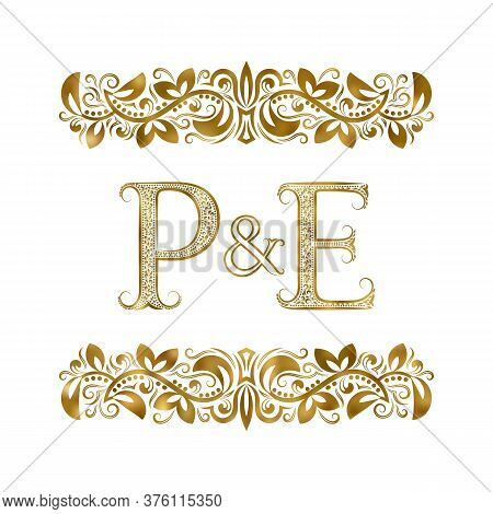 P And E Vintage Initials Logo Symbol. The Letters Are Surrounded By Ornamental Elements. Wedding Or