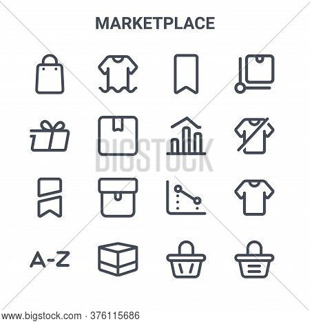 Set Of 16 Marketplace Concept Vector Line Icons. 64x64 Thin Stroke Icons Such As Clothes, Delivery,