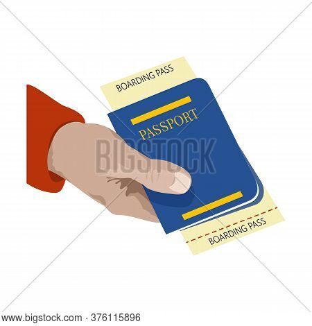 Close Up. Man Holding In His Hand The Passport And Ticket Flight. Symbol Of Travel And Tourism. Isol