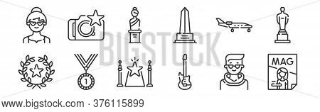 12 Set Of Linear Fame Icons. Thin Outline Icons Such As Magazine, Guitar, Medal, Aircraft, Sculpture