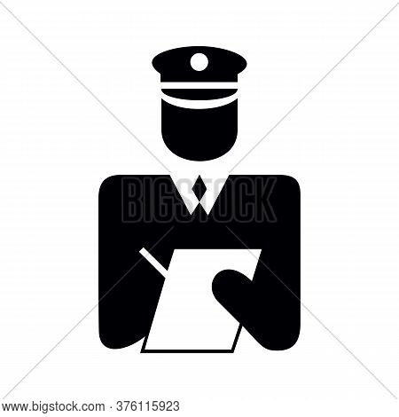 Police Officer In Uniform Writing A Ticket, Black And White Icon
