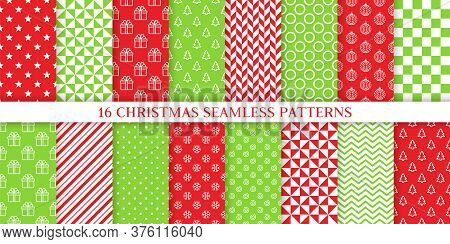 Xmas Seamless Pattern. Vector. Christmas, New Year Print. Backgrounds With Gift Box, Snowflake, Stri