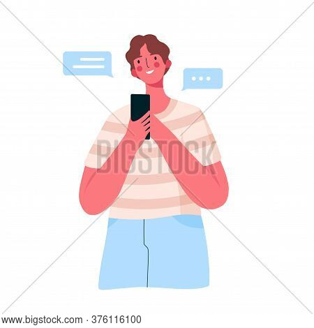 Young Happy Man With Smartphone Chatting With Friends, Family, Girlfriend. Male With Mobile Phone Br