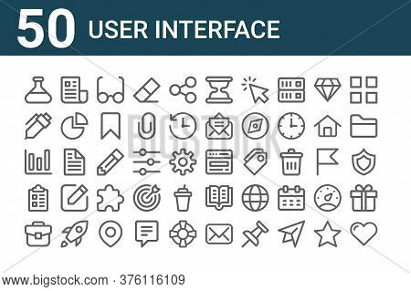 Set Of 50 User Interface Icons. Outline Thin Line Icons Such As Love, Briefcase, Clipboard, Statisti