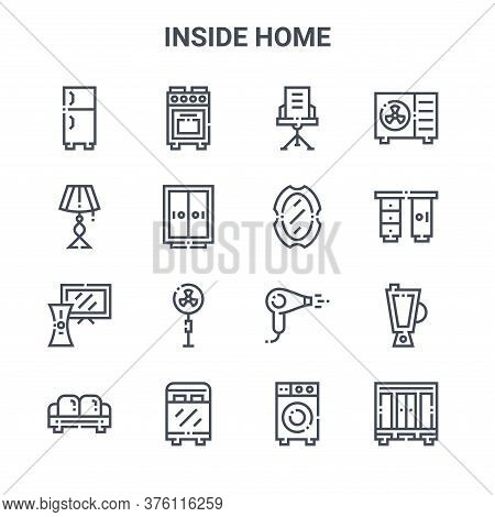 Set Of 16 Inside Home Concept Vector Line Icons. 64x64 Thin Stroke Icons Such As Oven, Light Bulb, D