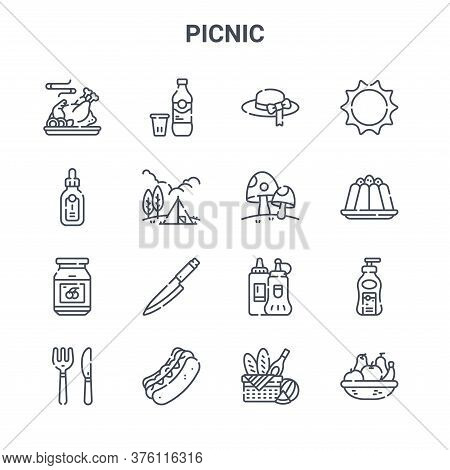 Set Of 16 Picnic Concept Vector Line Icons. 64x64 Thin Stroke Icons Such As Soda, Bottle, Pudding, K