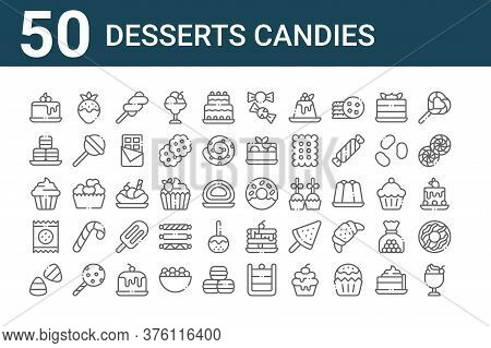 Set Of 50 Desserts Candies Icons. Outline Thin Line Icons Such As Ice Cream Cup, Candy Corn, Biscuit