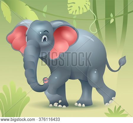Elephant Walking In The Jungle. Baby Elephant Looking For Mom. Elephant Walks. Vector Illustration