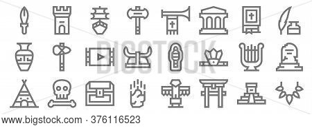 History Line Icons. Linear Set. Quality Vector Line Set Such As Prehistory, Torii Gate, Meteorite, I