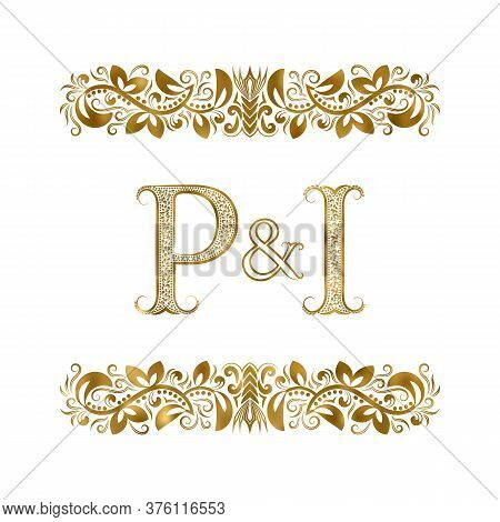 P And I Vintage Initials Logo Symbol. The Letters Are Surrounded By Ornamental Elements. Wedding Or