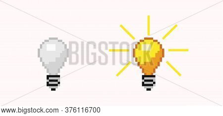 Turned Off And On Pixel Bulb. Luminous Orange And White Energy Free Light Lamp Brightly Flashed Crea