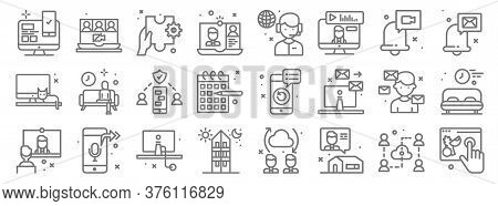 Home Line Icons. Linear Set. Quality Vector Line Set Such As Online Shopping, Chat, I Stay At Home,
