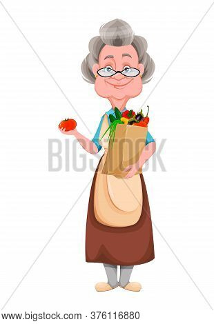 Happy Grandparents Day. Kind Granny Holding Bag With Vegetables. Cute Old Woman. Cheerful Grandmothe