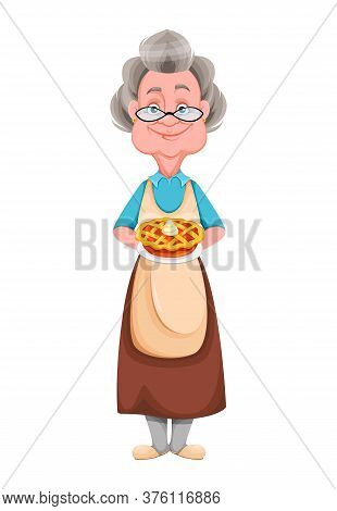Happy Grandparents Day. Kind Granny Holding Delicious Pie. Cute Old Woman. Cheerful Grandmother Cart