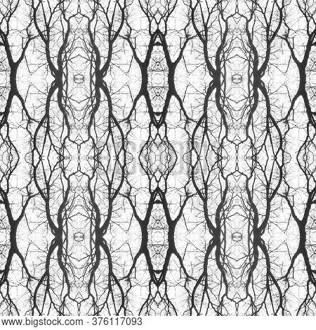 Retro Boho Tile. Tile Japanese Geometric. Floral Organic Rug. Black, White Seamless  Watercolor Majo